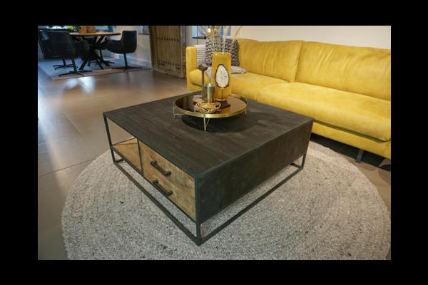 STEEL Coffee Table met 2 lades 100 x 100 x 40 cm