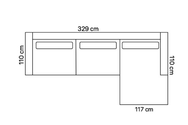 Indian Pashmina 3-zits AL + Longchair 95 AR (110 cm diep)