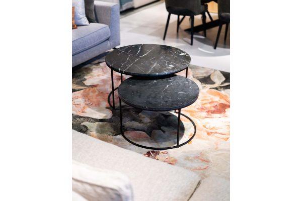 Salontafelset Sardinie, Marble Black, Black Iron leg
